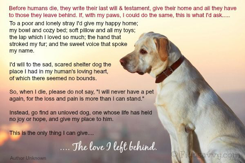 Dog quote. A dog's last will & testament.